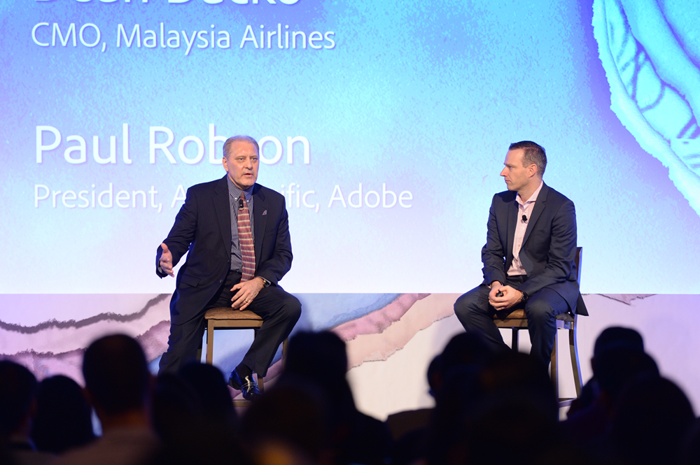 Dean Dacko, CMO, Malaysia Airlines (left) and Paul Robson, President, Adobe Asia Pacific.