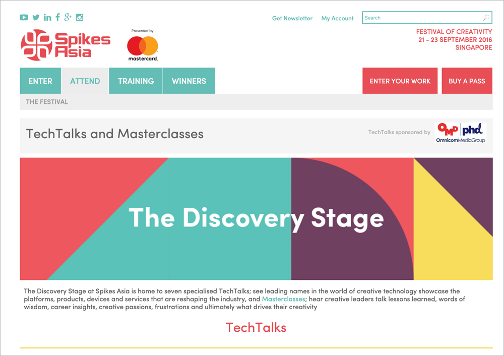 TechTalks and Masterclasses Spikes Asia 2016